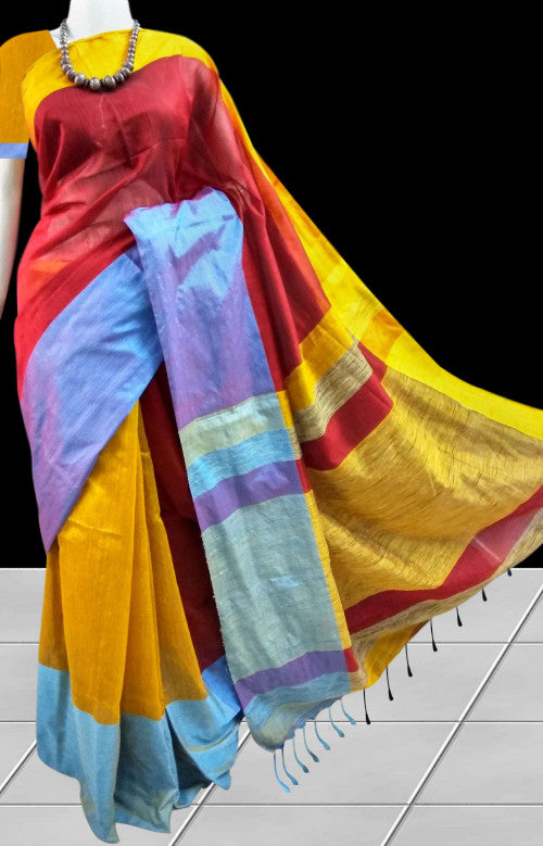 Multicolor Mahapar silk handloom saree