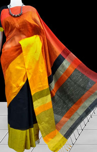 Classy black; glossy orange Mahapar silk handloom saree