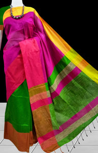 Trendy multi-color Mahapar silk handloom saree