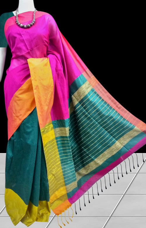 Marvelous pink; dark green Mahapar Silk Handloom Saree