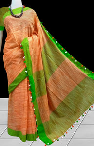 Mercerized cotton handloom saree