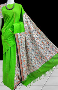 Bright light green mulmul cotton handloom khesh saree