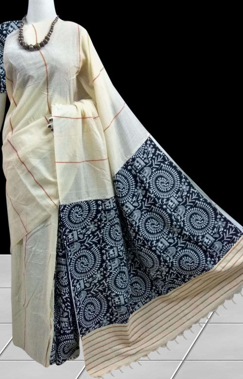 Graceful off-white mulmul cotton handloom khesh saree
