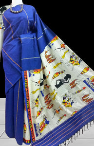 Trendy blue mulmul cotton handloom saree with khesh work