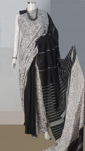 Black & White Color Handloom Mulmul Cotton Saree With Khesh Work