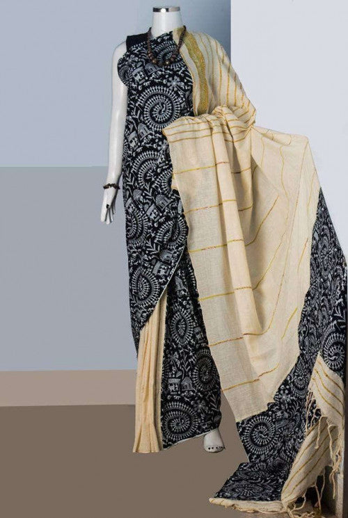 Delightful off-white mulmul cotton handloom saree with khesh work