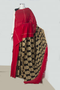 Red mulmul cotton handloom saree with khesh work