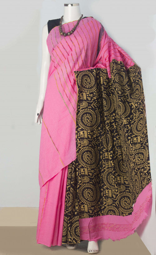 Stylish pink color mulmul cotton khesh saree