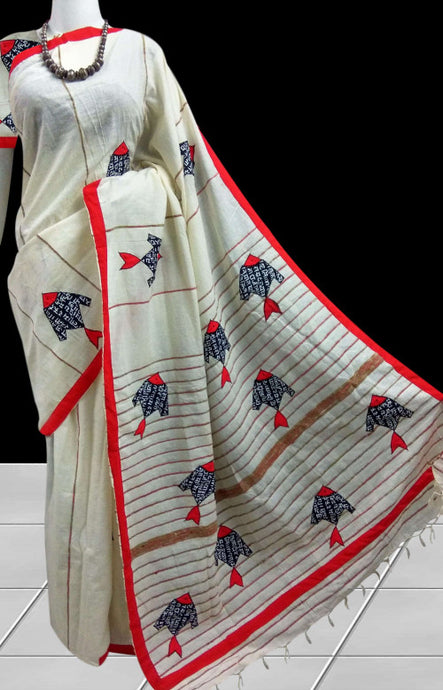 White and Red color mulmul cotton khesh saree