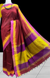 Pleasing maroon color base Khadi cotton handloom saree