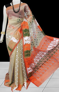 Beige color base soft dhakai Jamdani cotton saree