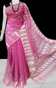 Pink color base soft dhakai Jamdani cotton saree with multicolor jamdani work