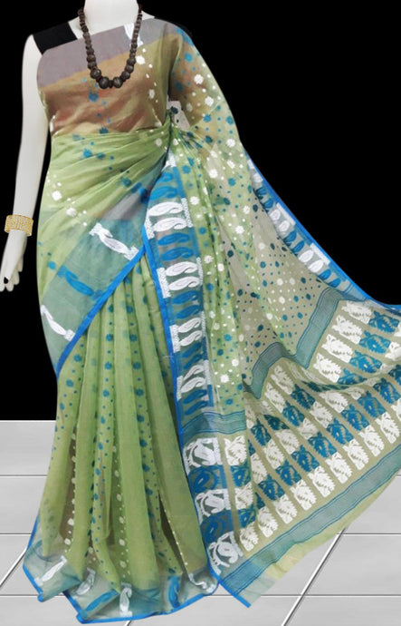 Green color base soft dhakai Jamdani cotton saree