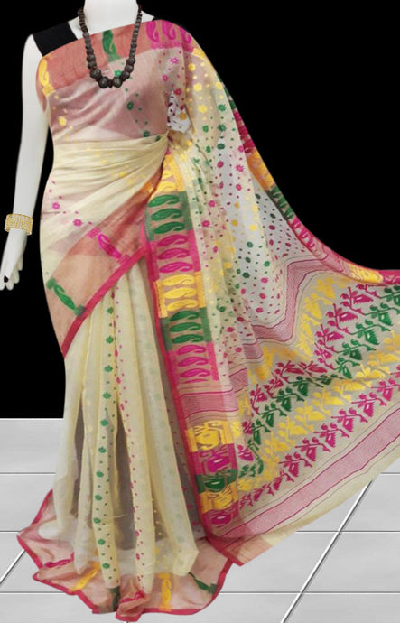 Jamdani Saree in Cream, Pink, Yellow, Green Color Combination Saree
