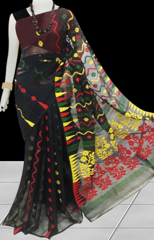 Elegent black color dhakai Jamdani cotton saree