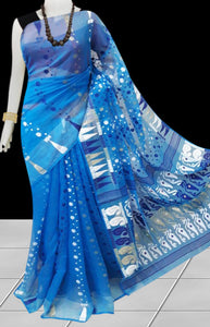 Blue color base soft dhakai Jamdani cotton saree with multicolor jamdani work