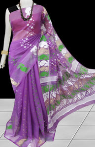 Dark pink color base soft dhakai Jamdani cotton saree