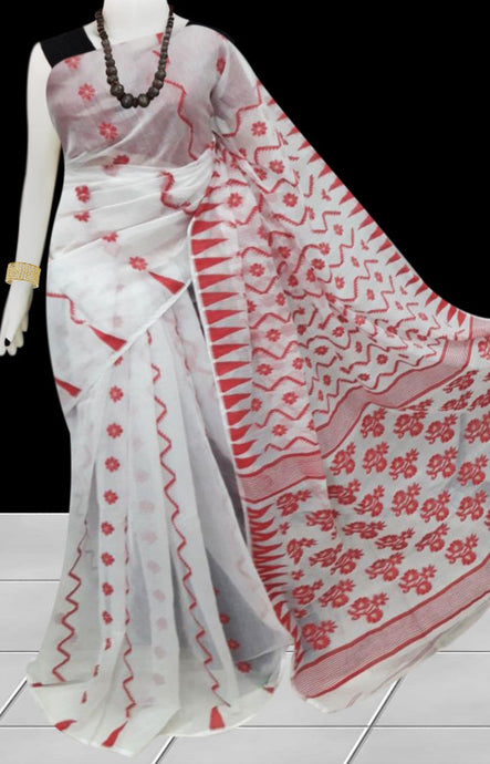 White And Red Color Dhakai Jamdani Saree