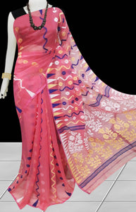 Peach color dhakai Jamdani cotton saree with multicolor jamdani work