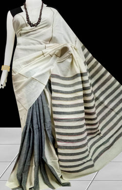 Cream color mulmul cotton handloom khesh saree