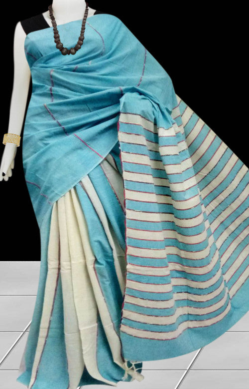 Sky blue color mulmul cotton handloom khesh saree