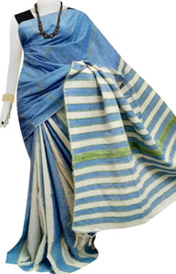 Blue color mulmul cotton handloom khesh saree
