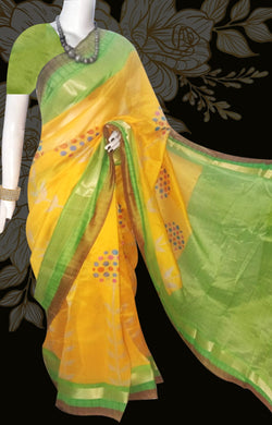 Yellow and Green Color Cotton silk saree.