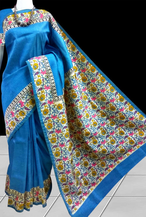 Stylish sky blue semi tusser silk Handloom Saree