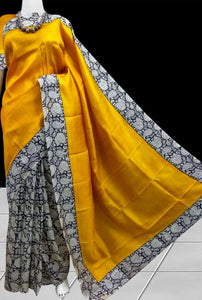 Blazing yellow Sonamukhi silk saree
