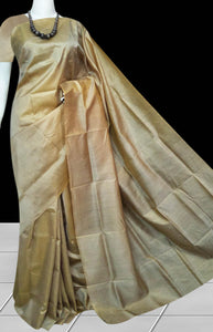 Light beige color double tone shade sonamukhi silk saree