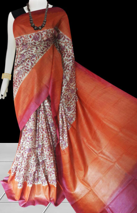 Orange color base sonamukhi silk saree with block print