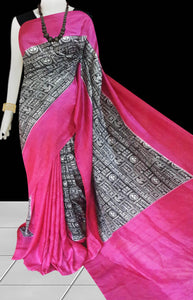 Pink and black color combination sonamukhi silk saree with block print