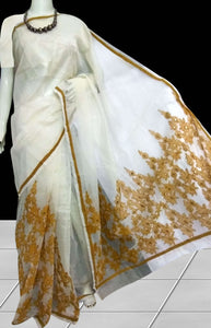 White Super Net Saree With Beautiful Aari Work