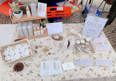 osco pollution defense serum, handmade market, stall display, osconatural