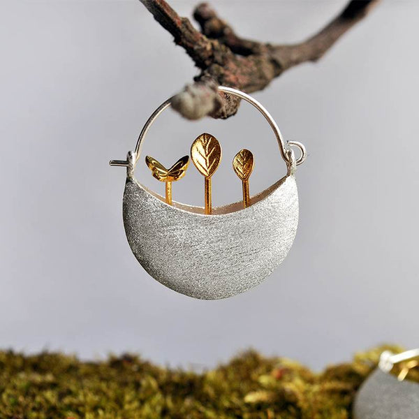 Baby Plant Silver Earrings