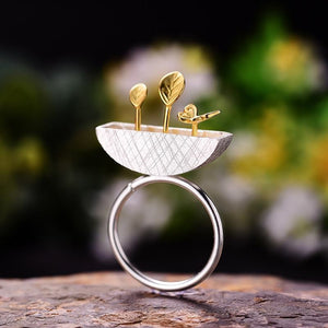 Gold Baby Plant Silver Ring