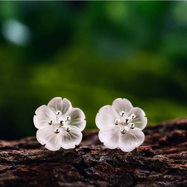 Silver Crystal Flower Stud Earrings