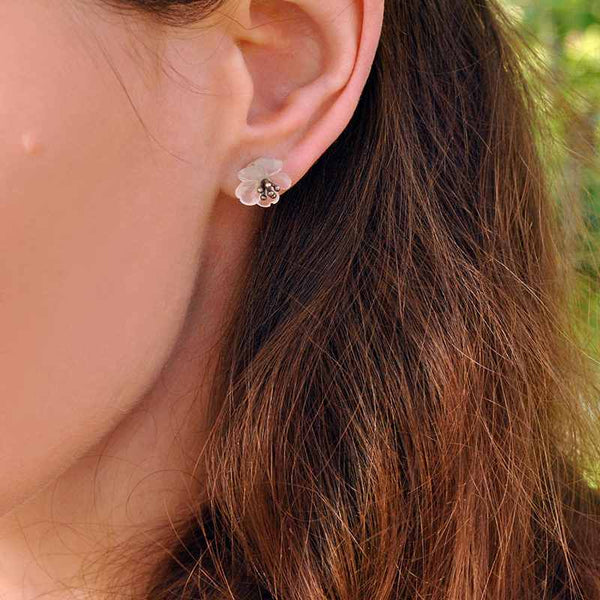 Crystal flower Sliver Stud Earrings