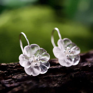 Crystal Flower Silver Hoop Earrings