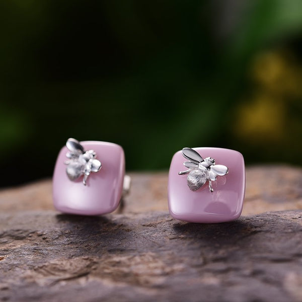 Silver Honeybee Pink Ceramic Stud Earrings