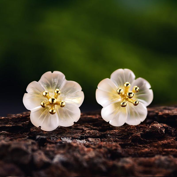 Gold  plated Crystal flower Studs