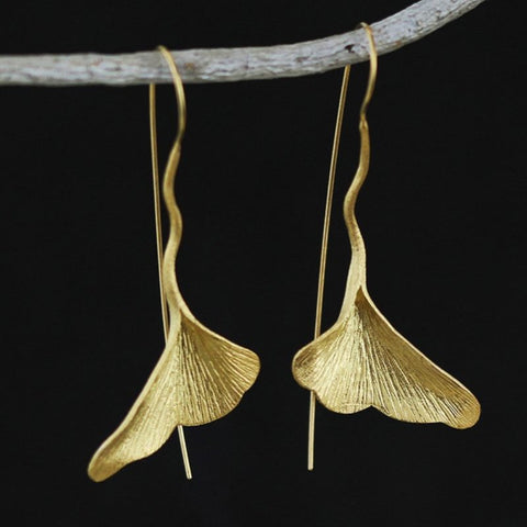 Gold Plated Ginkgo Earrings