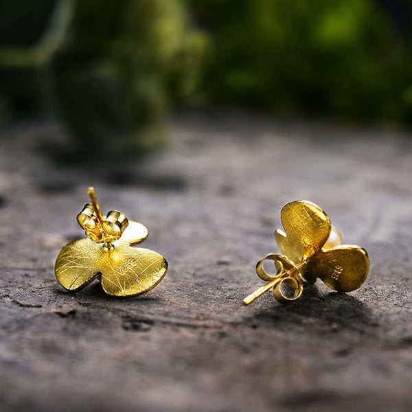 Gold Plated Clover Pearl Silver Earrings Rear