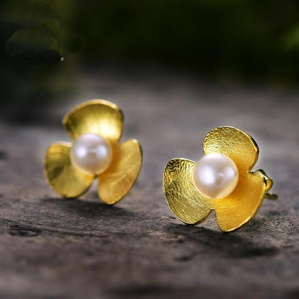 Gold Plated Clover Pearl Silver Earrings
