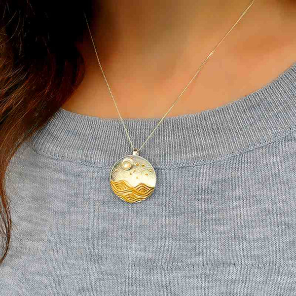 Moon Inspired gold Plated Silver Pendant