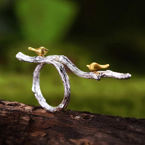 Hummingbirds on Branch Silver Open Ring