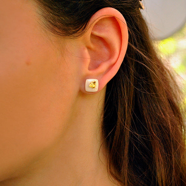 Gold Honeybee White Ceramic Studs