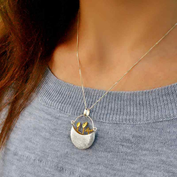 Gold Sprouts in a basket Silver Pendant