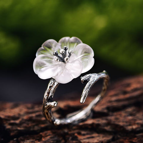 Oxidized Silver Flower Ring