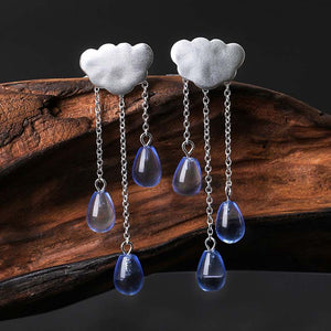 Rainy Cloud Tassel Earrings
